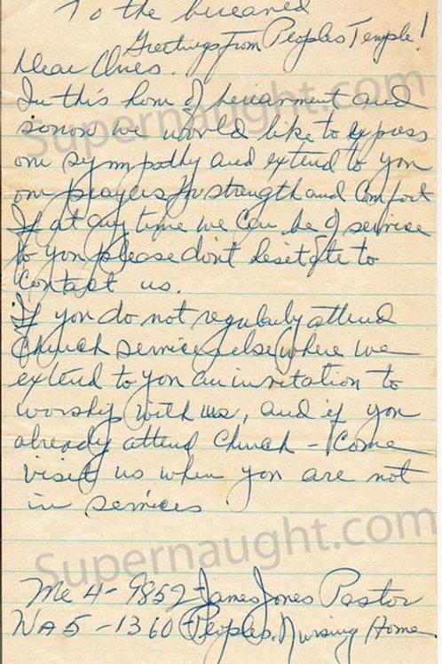 Jim Jones People's Temple letter