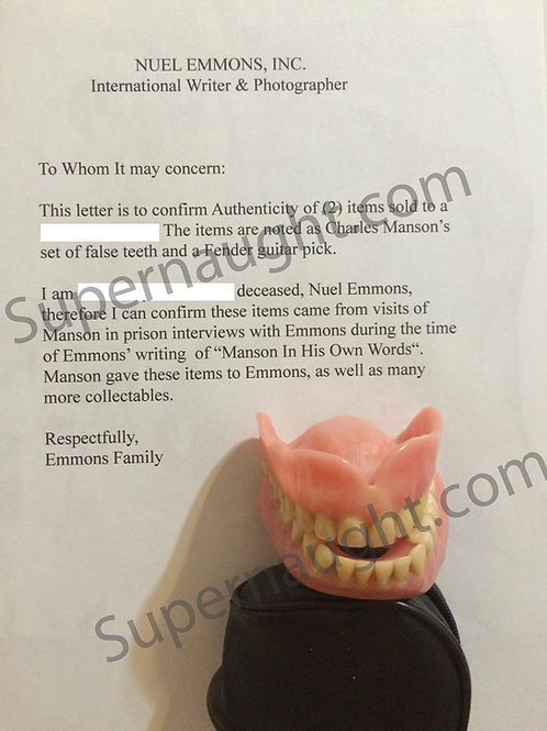 Charles Manson Prison Dentures Nuel Emmons Collection