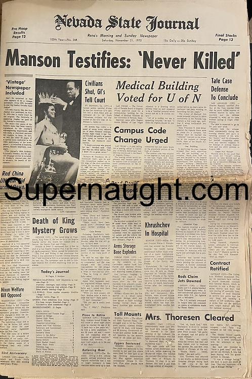 Charles Manson 1970 newspaper