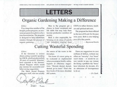 Douglas Clark Signed Letter to the Editor