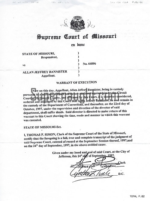 Alan Jeffrey Bannister Warrant