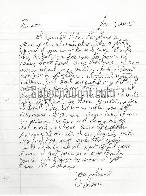 Adam Lane serial killer letter