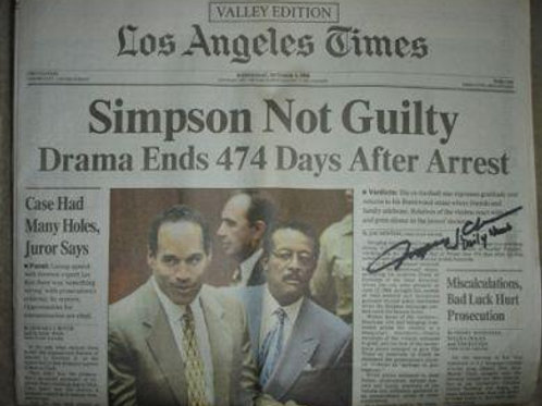 OJ Simpson not guilty newspaper