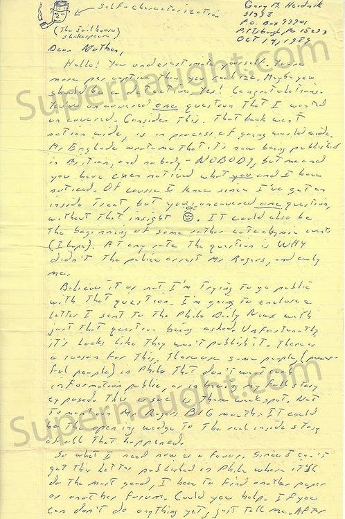 Gary Heidnik letter
