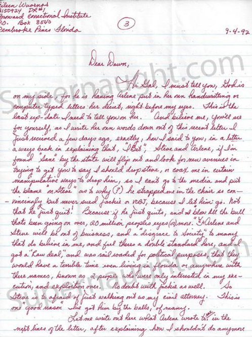 Aileen Wuornos 1993 letter and envelope set