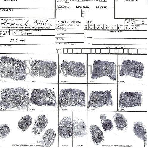 Lawrence Bittaker fingerprint chart