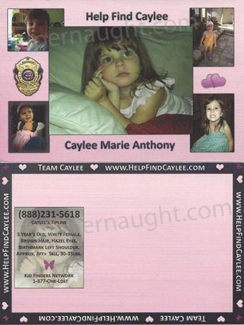 Caylee Anthony Missing Child Postcard
