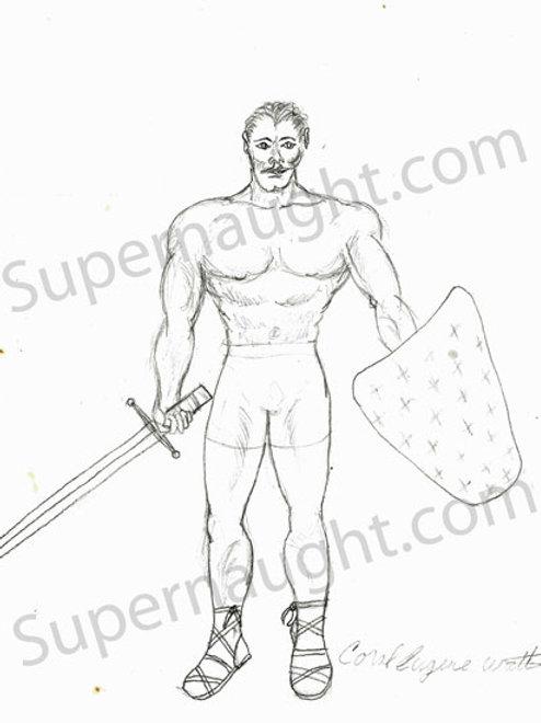 Carl Watts Warrior Self Portrait Signed in Full