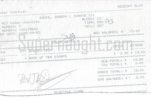 Joseph Druce Prison Commissary Receipt Signed