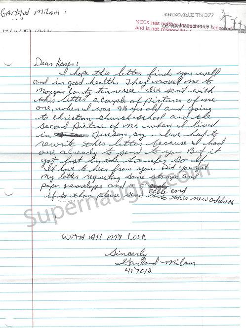Garland Milam Letter and Envelope Set Both Signed