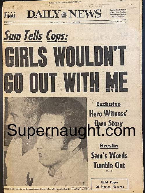 David Berkowitz  August 12 1977 Daily News Paper