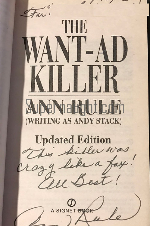 Ann Rule Signed Book