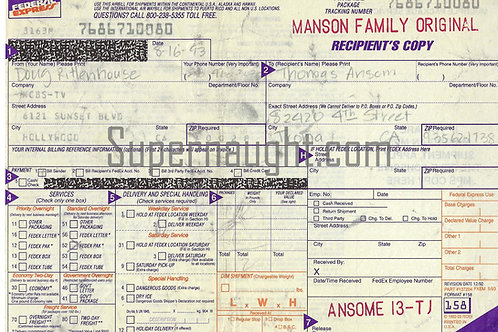 TJ the Terrible Ansom Fed Ex Airbill Manson Family