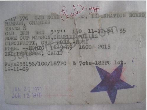 Charles Manson Photo of His 1970-71 Jail ID