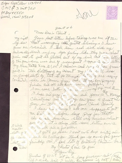 Edgar Ray Killen letter