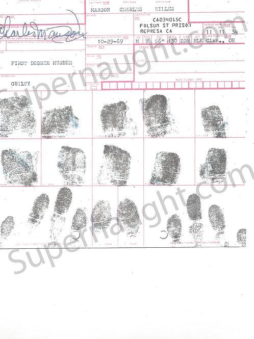 Charles Manson fingerprint chart