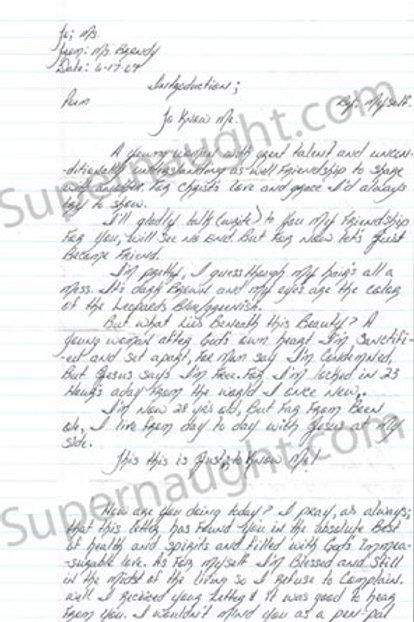 Brandy Holmes signed letter
