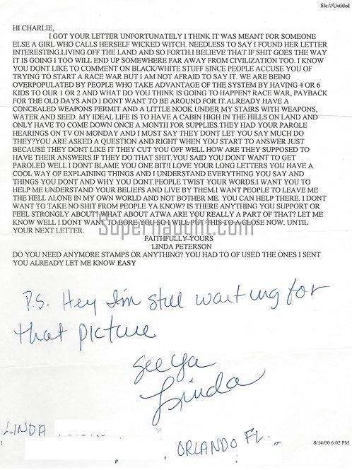 Charles Manson Pen Pal Letter