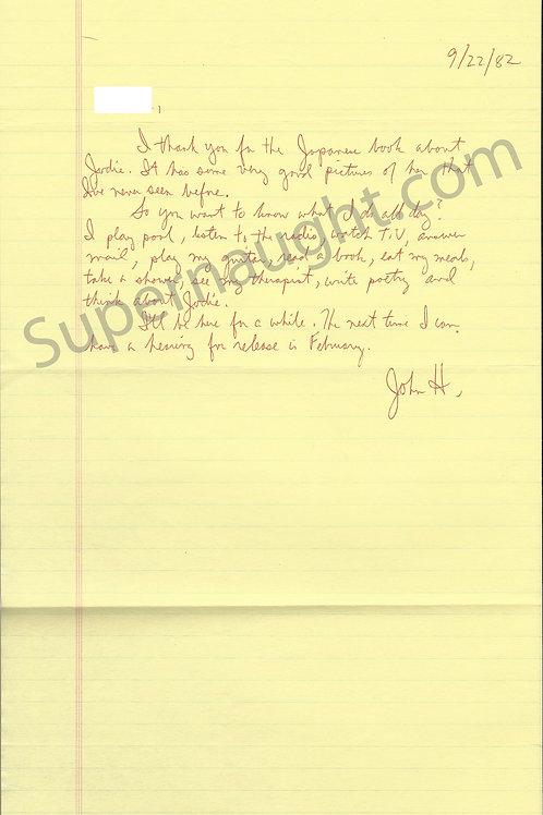 John Hinckley Letter