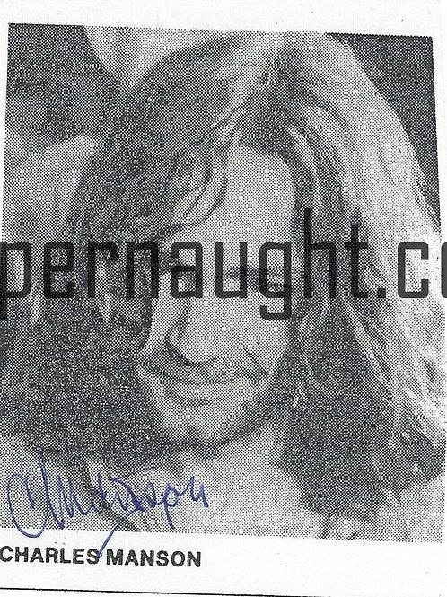 Charles manson signed photo