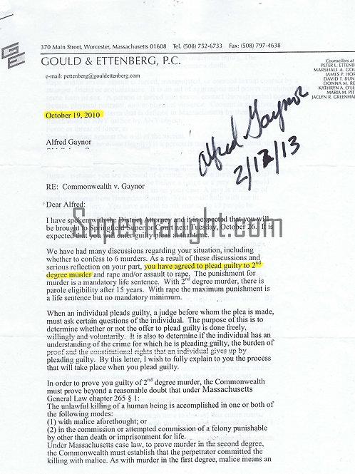Alfred Gaynor Letter