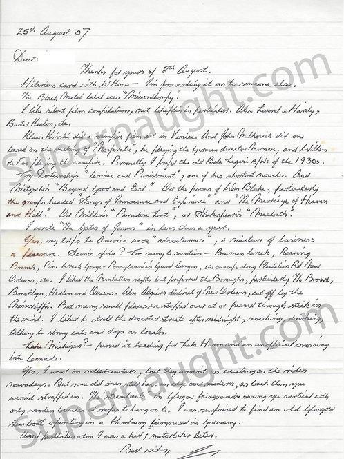 Ian Stewart Brady Letter