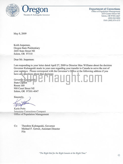 Keith Jesperson Interstate Transfer Letter With Copy of Jesperson's Letter and S