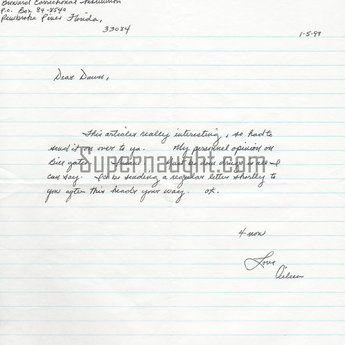 aileen wuornos signed letter