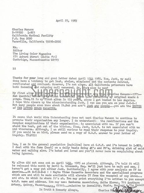 Charles Manson Correspondence