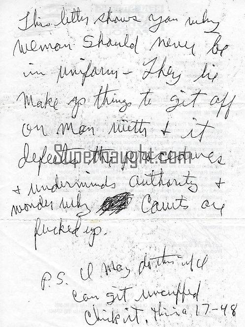 Charles Manson Letter