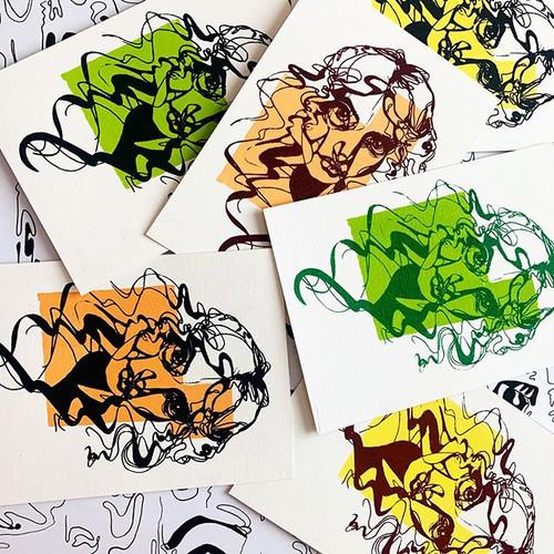 Screen Printed Free Drawing Postcards