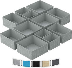 Gray fabric drawer organizers in various sizes