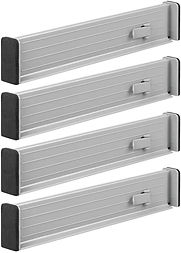 Set of four plastic drawer dividers