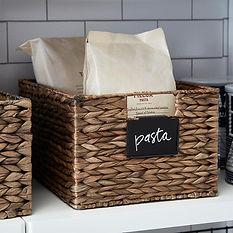 Wicker storage basket with handles