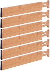 Set of six bamboo drawer dividers
