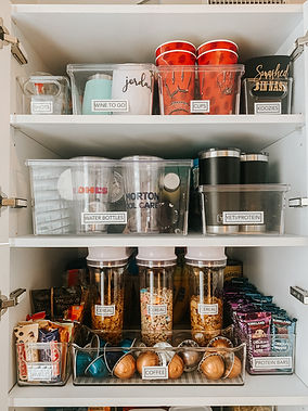 Organized pantry cabinets