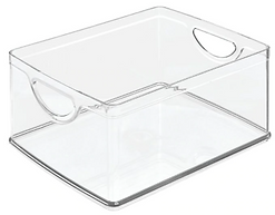 Clear plastic rectangular pantry bin