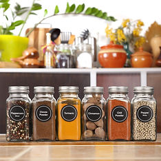 Glass spice jars with matching labels