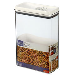 Clear cereal container with white lid