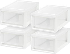 Set of four stackable plastic drawers
