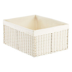 Cloth-lined white woven basket