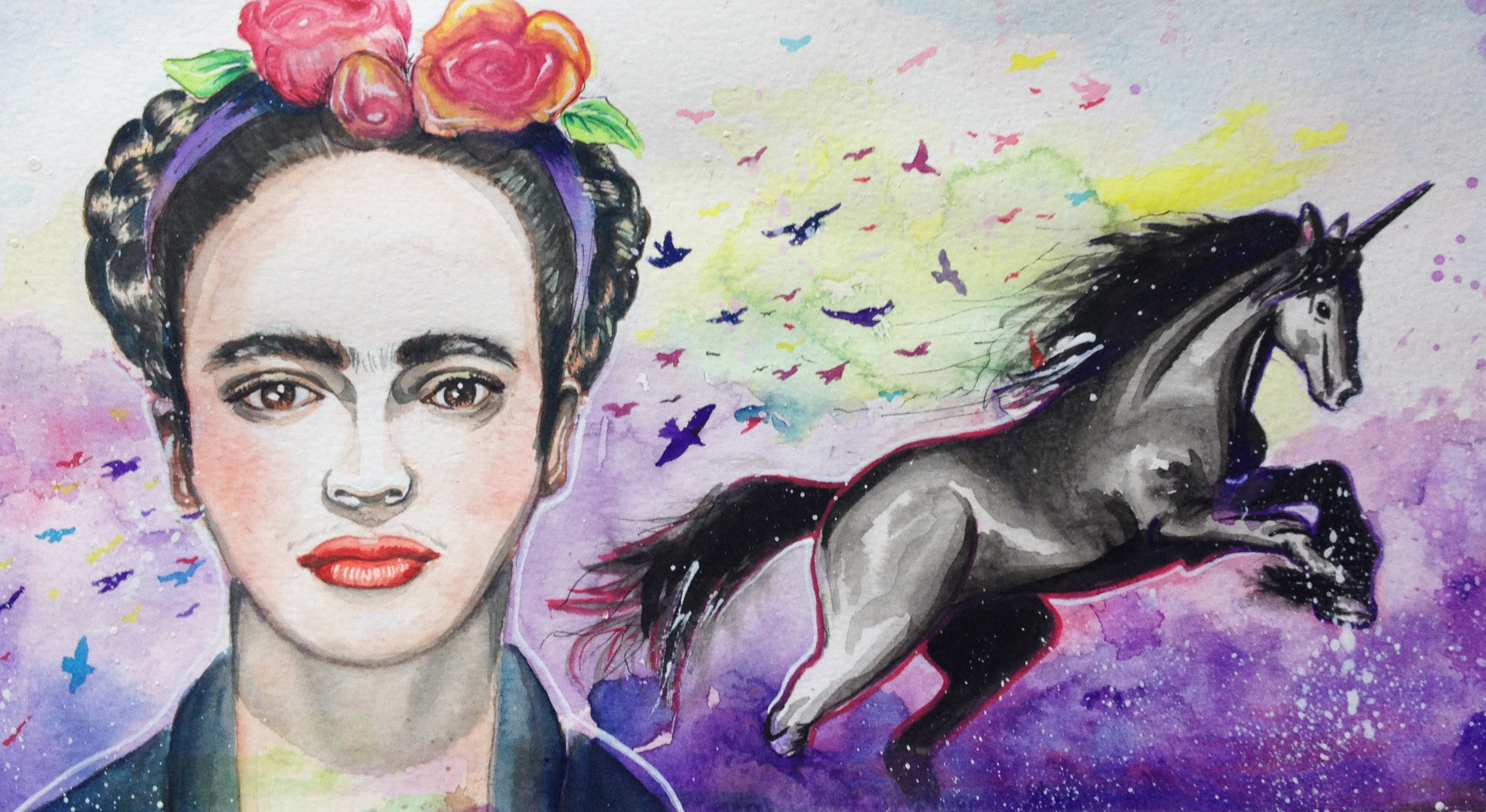 Frida In The Sky With Horses