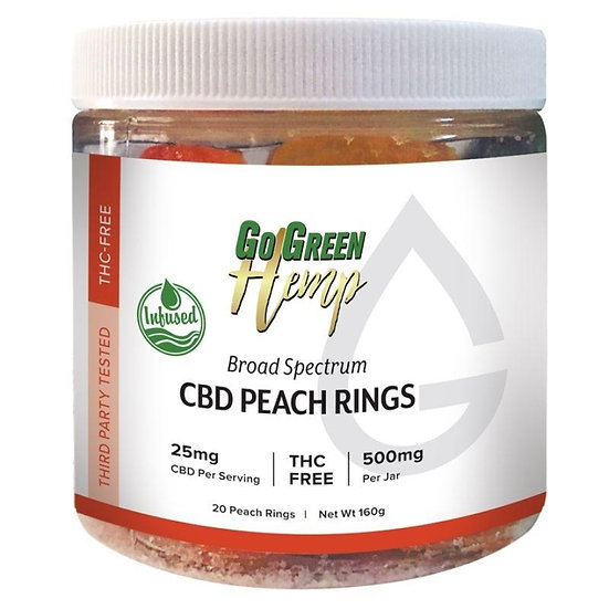 GoGreen Hemp CBD 25mg Peach Rings (500mg)