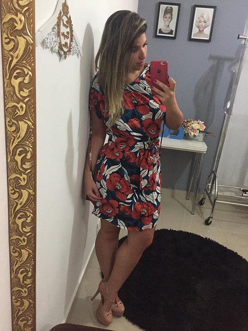 Vestido Floral com Cinto