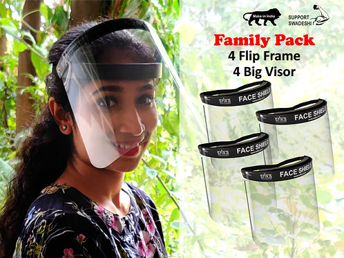 Srika Super Saver Family pack Face Shield with Flip Frame with Big Visor. Best Price Anti COVID19 Product in India