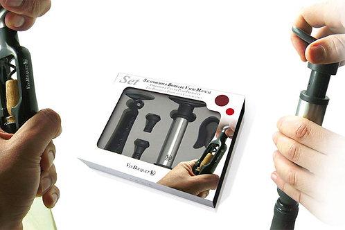 Set sacacorcho de giro + descapsulador + bompa de vacío con tapones Vin Bouquet