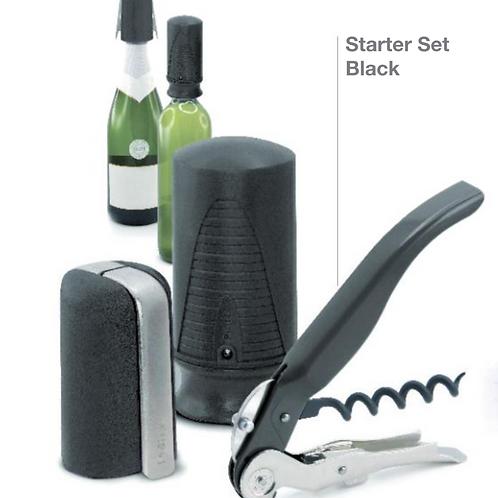 Set vino-cava 3 piezas negro