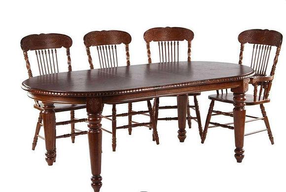 Обеденный стол из массива цвета темный орех.