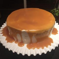 Pecan Studded Caramel Cake baked for Mom's birthday