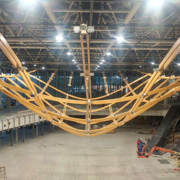 Interior Glulam dome assembly